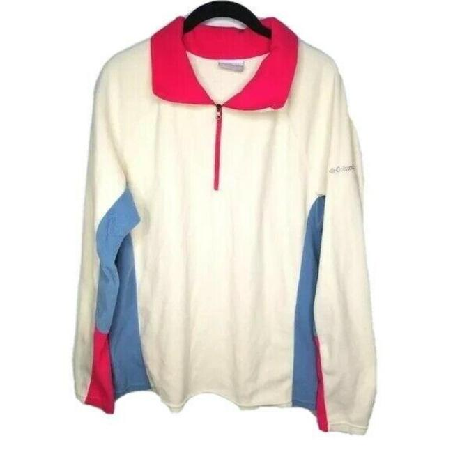 Item - White Pink & Blue Pullover Fleece Activewear Size 16 (XL, Plus 0x)