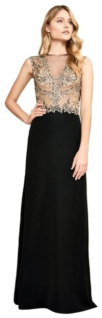 Item - Black Lace Bodice Sleeveless Evening Gown Gold Long Formal Dress Size 6 (S)
