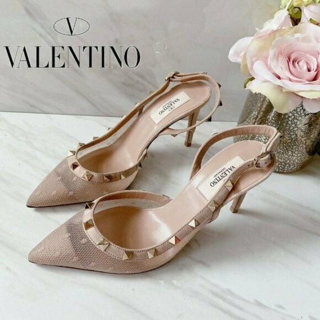 Item - Pink Nude Garavani Rockstud Pointed Toe Mesh Slingback Heel Pumps Size US 9.5 Regular (M, B)