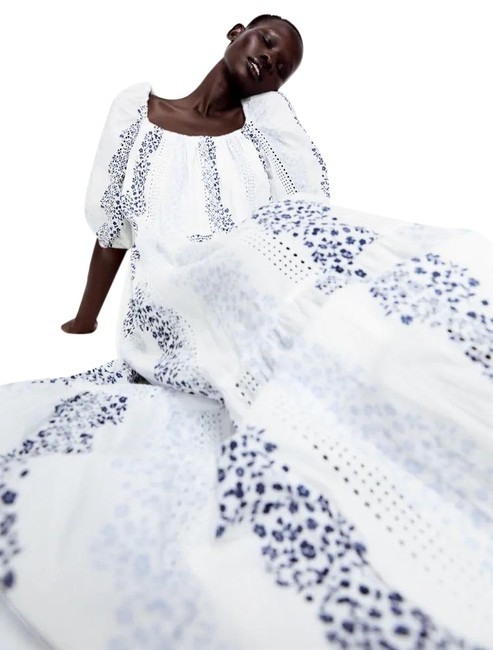 Item - Multicolor XS Printed & Embroidered 3/4 Sleeve White/Blue New Long Casual Maxi Dress Size 2 (XS)