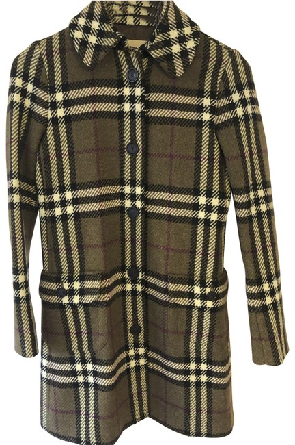 Item - Sage/Beige/Black/Plum Nova Check Wool Coat Size 2 (XS)