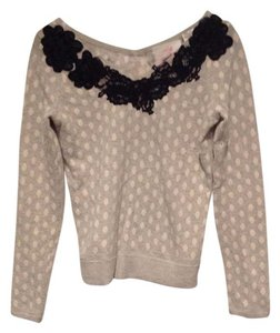 Karen Nicol Lace V-neck Polka Dot Sweater