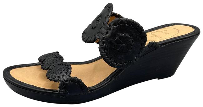 Item - Black Shelby Stacked Wedge Leather Sandals Size US 7.5 Regular (M, B)
