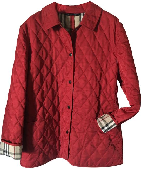 Item - Cadet Red London Quilted Nova Check Lining Jacket Size 6 (S)