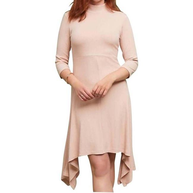 Item - Pink L Ribbed Turtleneck Open Back Handkerchief Mid-length Short Casual Dress Size 12 (L)