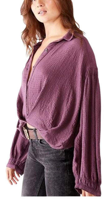 Item - Burgandy Long Sleeve Oversized S Button-down Top Size 4 (S)