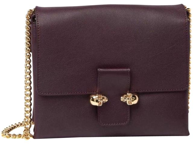 Item - Twin Skull Handbag & Dustbag Purple Leather Cross Body Bag