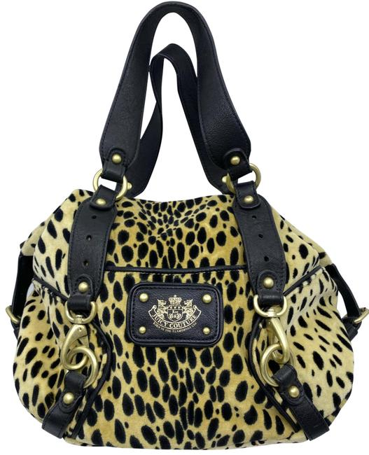 Juicy Couture Bowling Animal Print Black Yellow Fabric Shoulder Bag Juicy Couture Bowling Animal Print Black Yellow Fabric Shoulder Bag Image 1