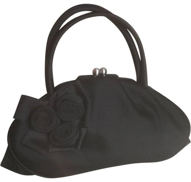 Item - Purse - Like New Non-smoking Environment Black with Silver Clasp and Three Flower Adornment By Cross Body Bag