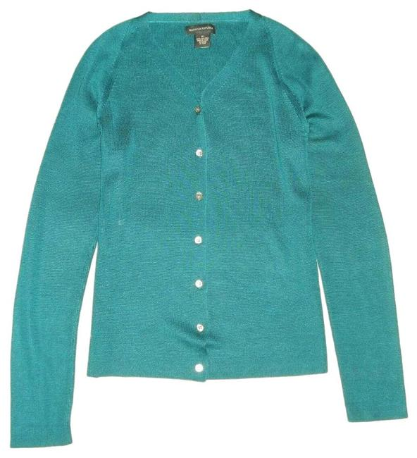 Item - Teal 100%silk V-neck Long Sleeve Cardigan Size 8 (M)
