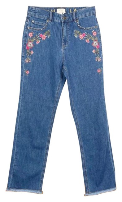 Item - Blue Medium Wash New Ditsy Embroidered Mid Straight Leg Jeans Size 26 (2, XS)