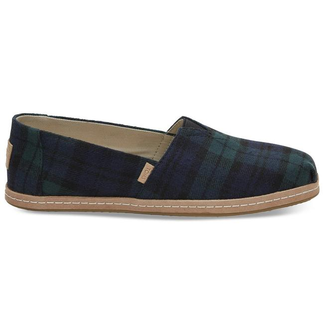 Item - Green Plaid Felt On Leather Flats Size US 8 Regular (M, B)