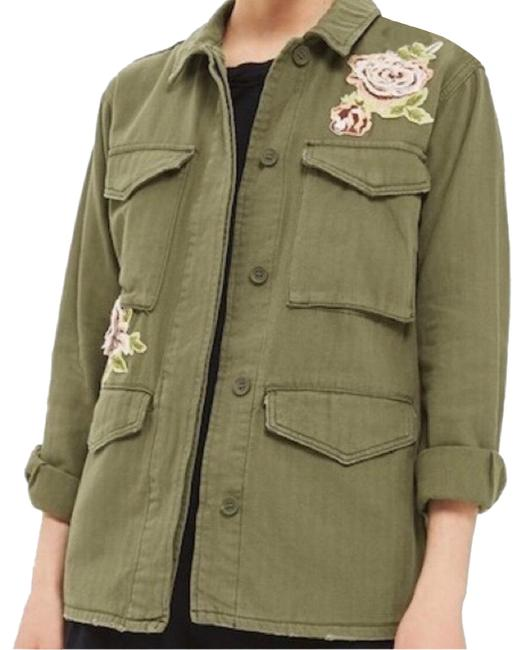Item - Olive Green Ethan Rose Applique Shirt Jacket Size 2 (XS)