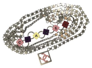 Chanel Chanel '04P Silver Chain Link Candy Color Block Belt