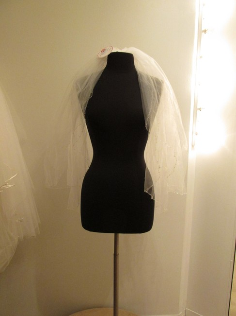 Item - White Medium 2-tier Beaded Bridal Veil