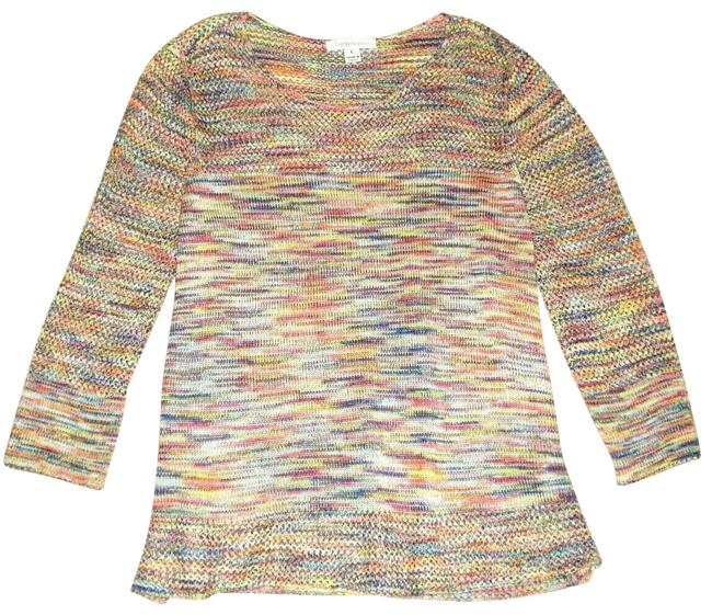 Item - L Knitted 3/4 Sleeve Multicolored Sweater