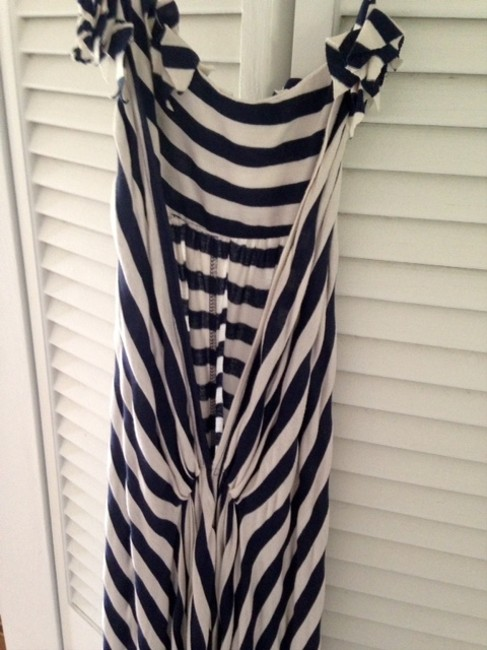 navy Maxi Dress by Gracia Hi Lo Backless Stretchy Cotton Striped Applique Halter