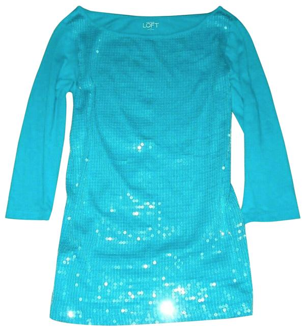 Item - Sequin 3/4 Sleeve Knit Shirt Blouse S Teal Sweater
