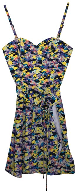 Item - Blue/Purple/Pink/Yellow Floral Belted Short Casual Dress Size 4 (S)