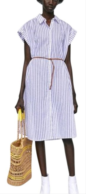 Item - Blue / White Lightweight Striped Dress/ Coverup Long Casual Maxi Dress Size 4 (S)