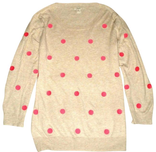 Item - Embroidered Pink Polka Dot Cotton M Beige Sweater