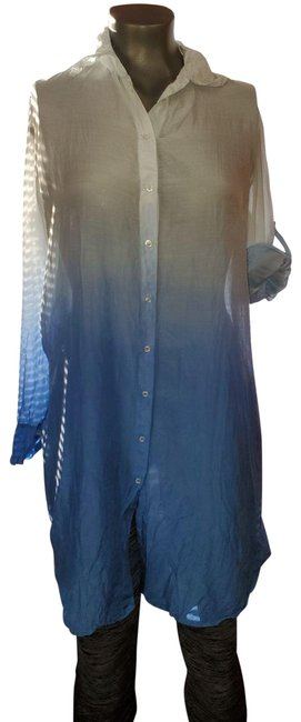 Item - Blue/White Ombre Vintage Sheer Tunic/Swim Cover Tunic Size 6 (S)