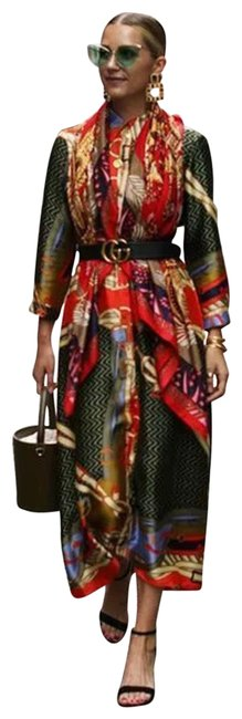 Item - Green and Red Orange Scarf Print Long Casual Maxi Dress Size 0 (XS)
