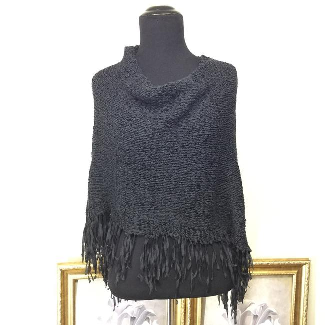Item - Black Vintage Fringe Open Knit Sweater Poncho/Cape Size 4 (S)
