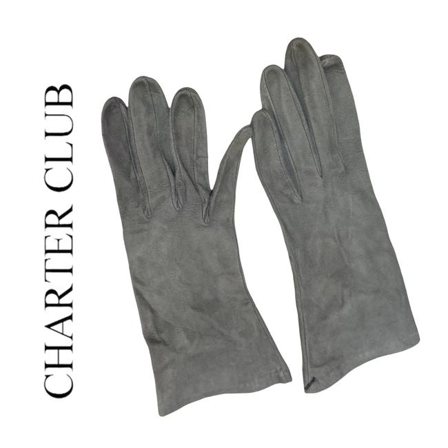 Item - Gray Suede Leather Silk Lined Gloves