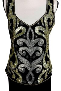 Luisa Spagnoli Designer Vintage Evening Top Black Silver