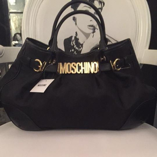 Moschino Gold Iconic Tote in Black