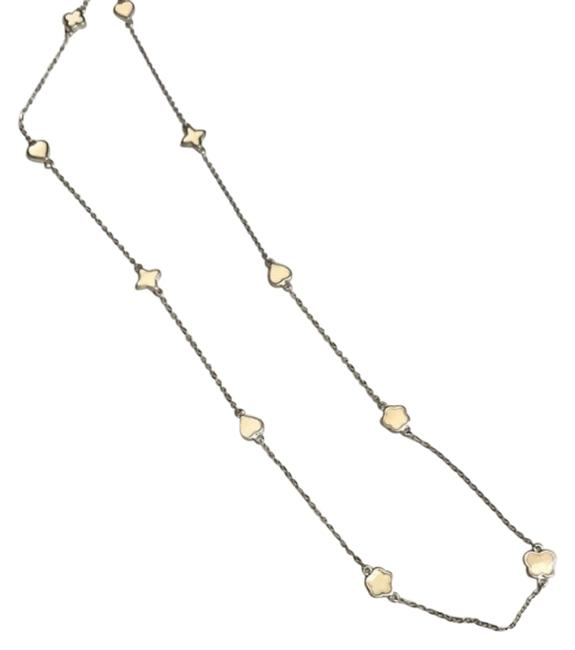 Item - Silver Cream And Enamel Multiple Shapes Chain Necklace