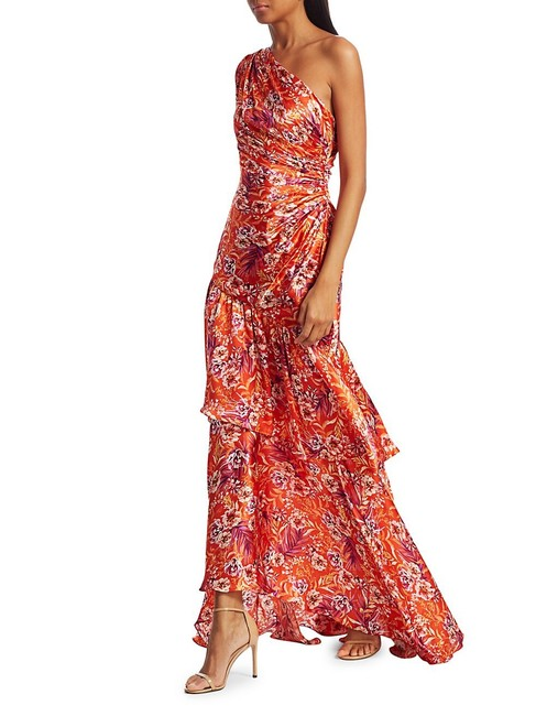Item - Floral Print Israella Of The -shoulder Fitted Silk Gown In Flame Rosa Long Cocktail Dress Size 0 (XS)