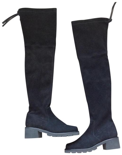 Item - Black Over The Knee Suede Flat Boots/Booties Size US 7.5 Regular (M, B)