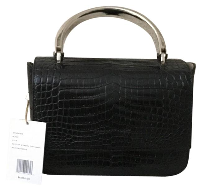 Item - Top Handle Black Nile Crocodile Shoulder Bag
