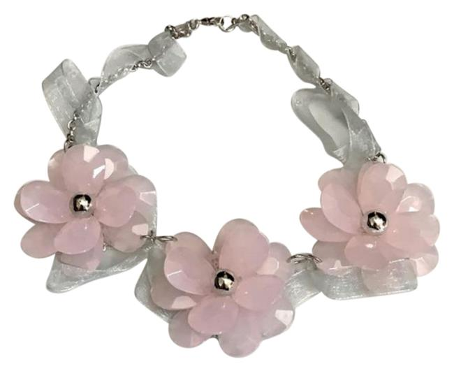Item - Pink Silver Chunky Floral Statement Necklace