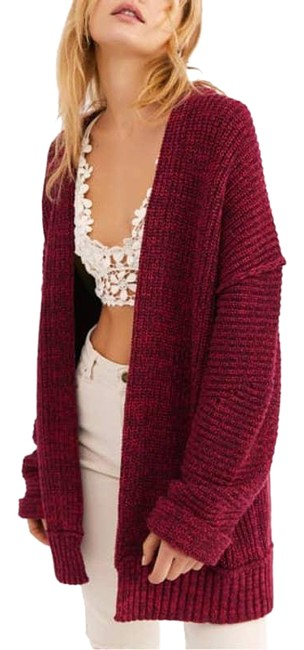 Item - Red High Hopes Marbled Rib Knit Sweater Cardigan Size 8 (M)