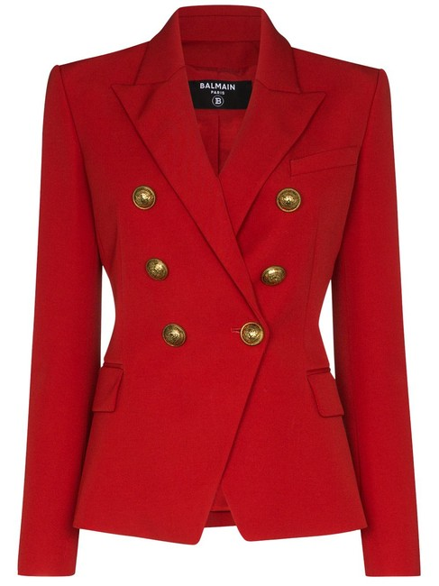 Item - Red Double-breasted Grain De Poudre Wool Blazer Size 12 (L)