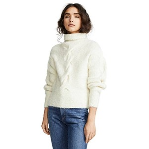 Item - Mohair Cable Turtleneck-m Ivory White Sweater