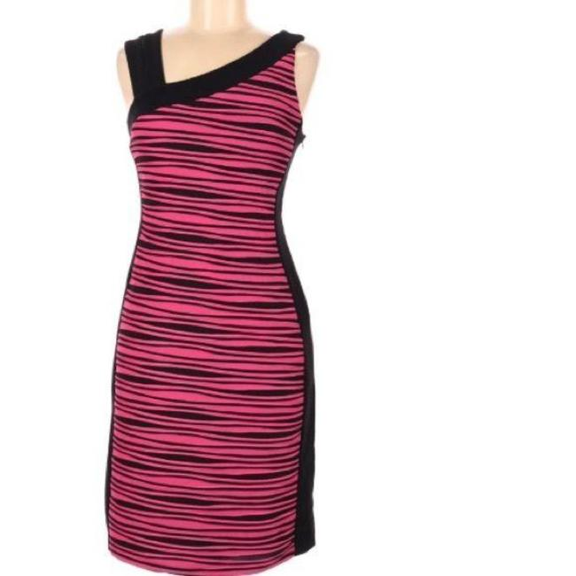 Item - Pink Black Mid-length Cocktail Dress Size 6 (S)