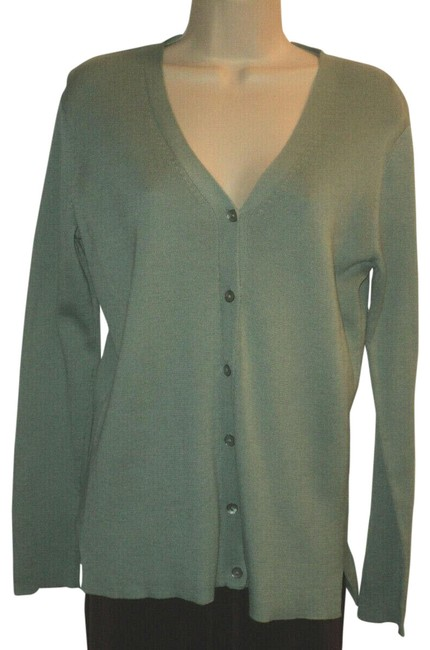Item - Mint Green Front Shell Buttons V Neckline Vents Long Sleeves Cardigan Size 10 (M)