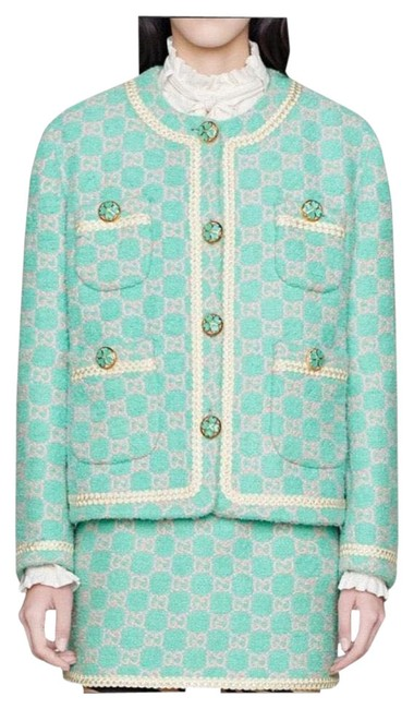 Item - A Blue-green with Pink Gg Tweed Jacket Size 4 (S)