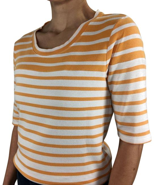 Item - Yellow White Striped Stretch Cotton Knit Crew Neck Short Sleeve Blouse Size 8 (M)