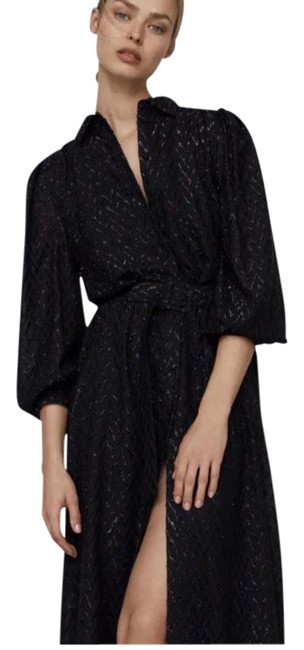 Item - Black With Metallic Thread In S Long Casual Maxi Dress Size 4 (S)