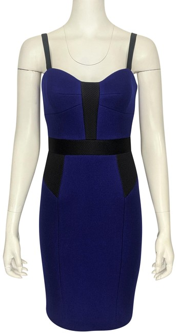 Item - Purple & Black Bustier Contrast Mesh Detail Fitted Short Cocktail Dress Size 0 (XS)