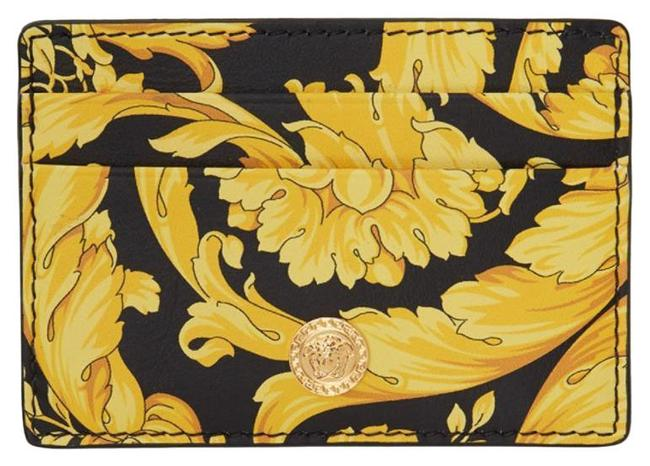 Item - Black and Yellow Barocco Medusa Card Holder Wallet