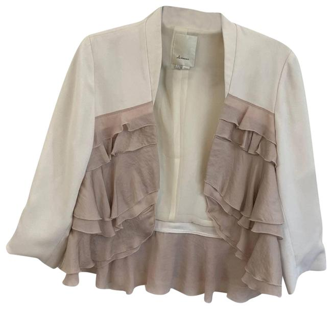 Item - Cream/Tan Elevenses Women's Long Sleeve Ruffle Blazer Jacket Size 6 (S)