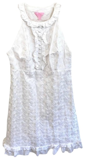 Item - White Lace Button Ruffle Halter Dress Tank Top/Cami Size 10 (M)