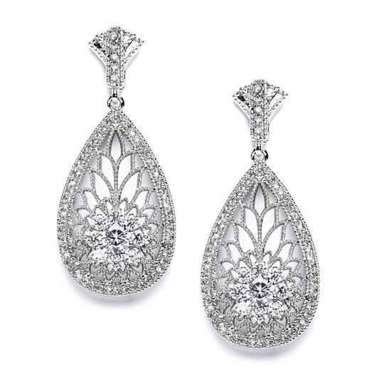 Silver Art Deco Etched Cz Earrings