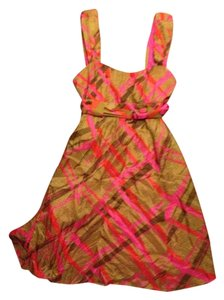 Nanette Lepore Mod Plaid Funky Summer Silk Belted Party Work Casual Dress